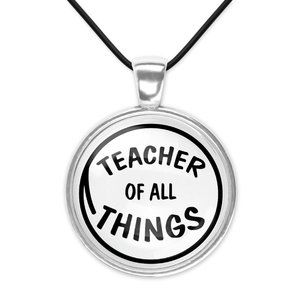 Teacher of All Things Dr Seuss Cat Hat Glass Pendant Necklace Minimalist New